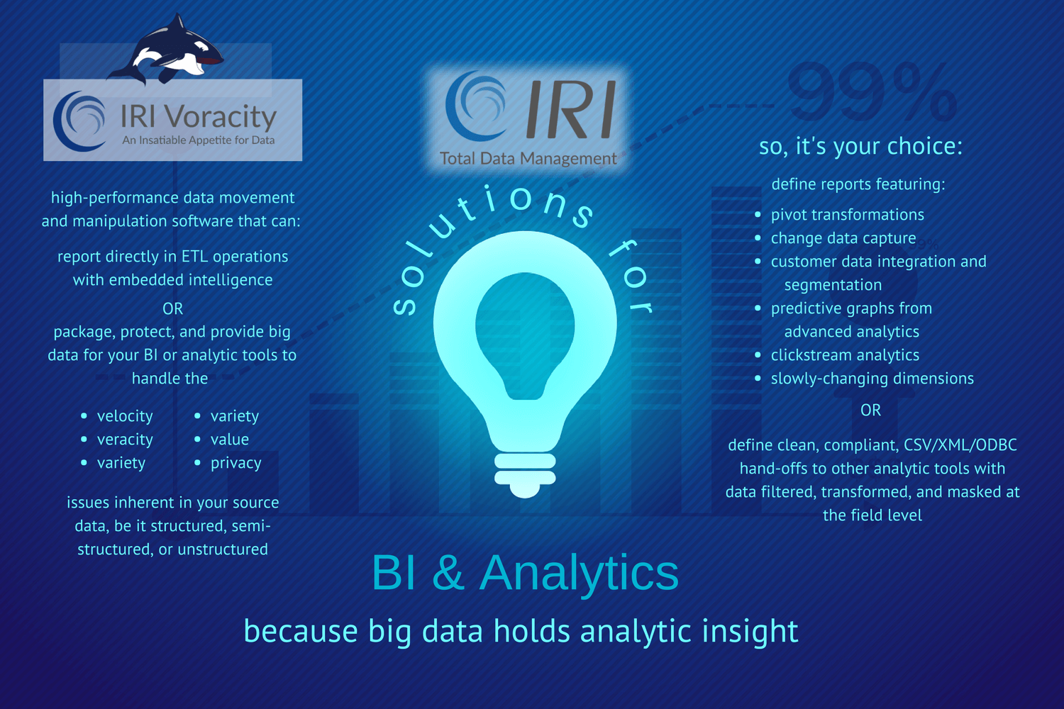 business intelligence and advanced analytics solutions for IRI infographic