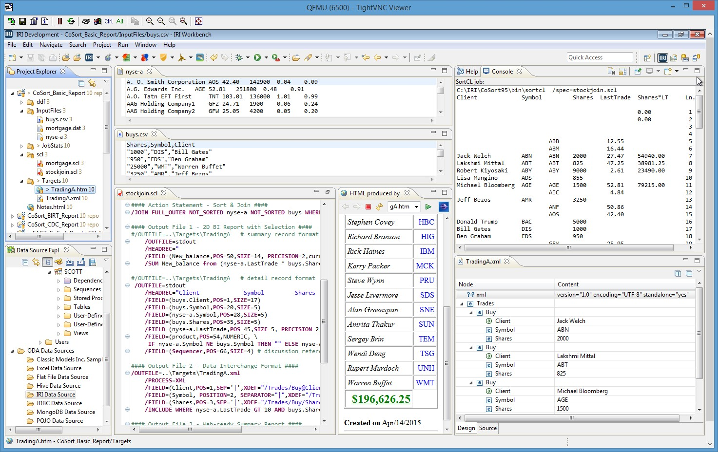 A view of the Embedded BI GUI