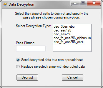 Data Decryption dialog box