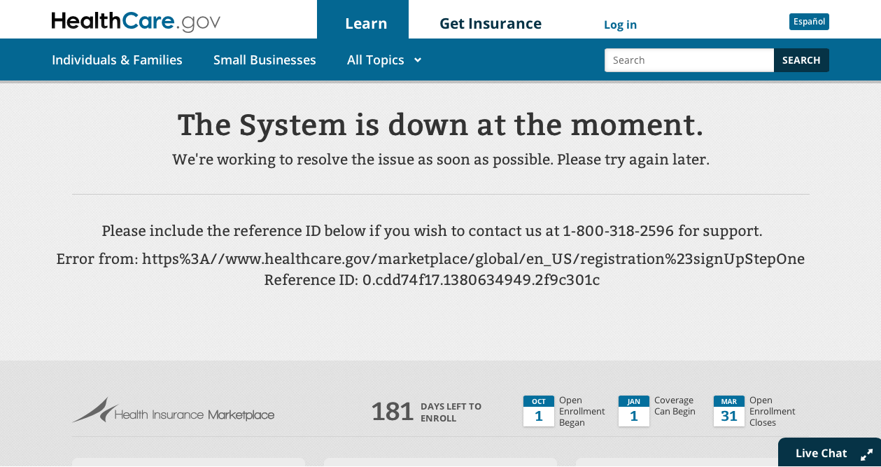 Healthcare.gov system down message