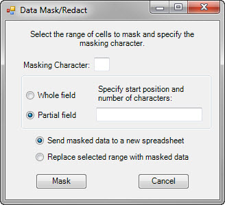 Data Mask/Redact dialog box