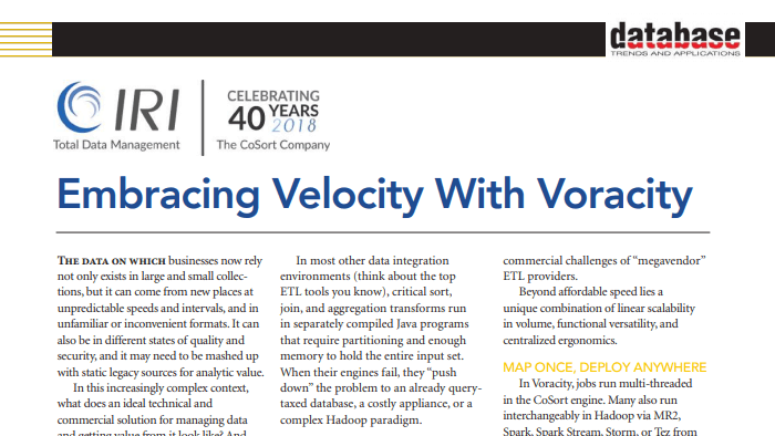 DBTA article snippet on embracing velocity with Voracity