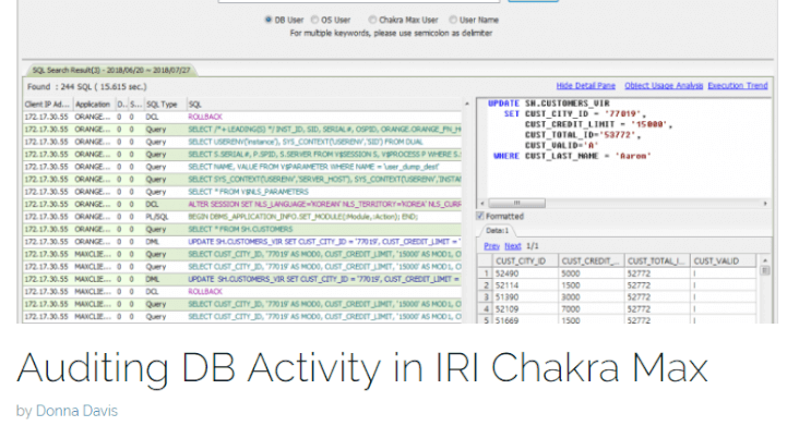 Auditing DB Activity in IRI Chakra Max Blog