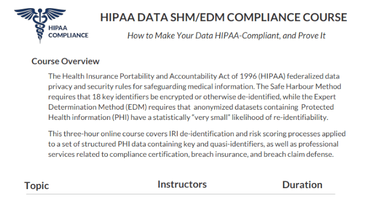 HIPAA course screenshot