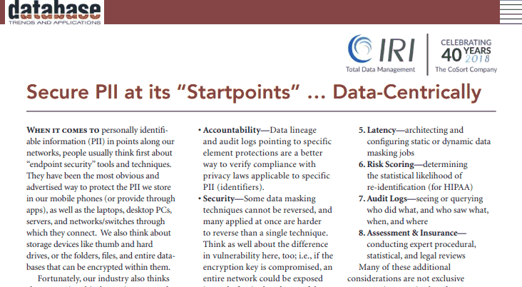 Startpoint Security DBTA article screenshot