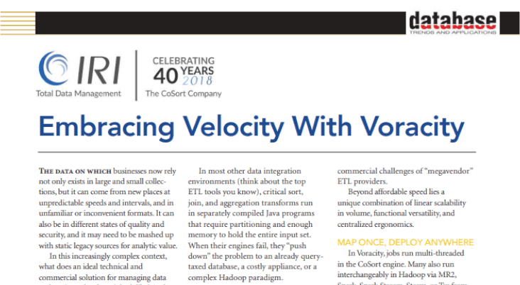 DBTA Embracing Velocity with Voracity article screenshot
