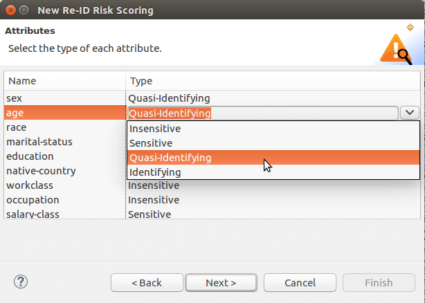 data attributes in the risk scoring wizard