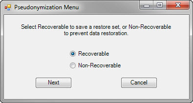 Pseudonymization Menu dialog box
