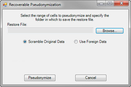 Recoverable Pseudonymization dialog box