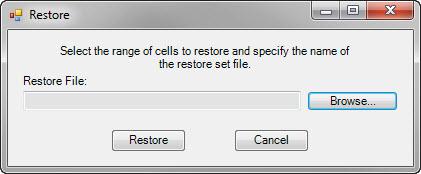Restore dialog box