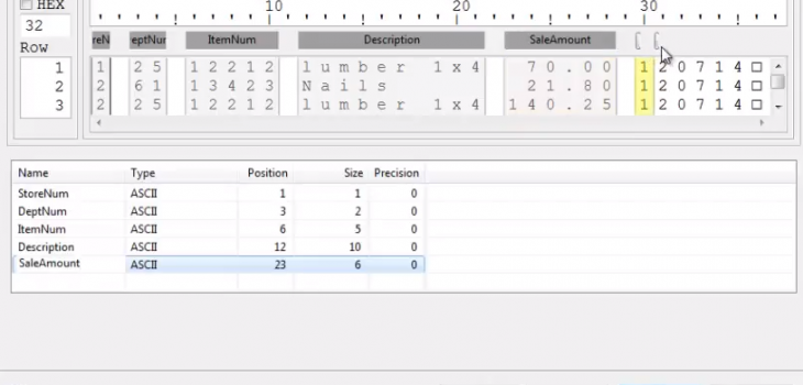 metadata file fixed field length