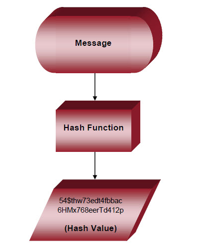 A diagram that shows hashing encryption