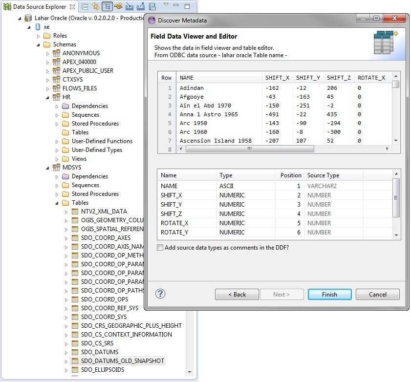 Data Profiling Image showing the IRI Workbench metadata discovery wizard