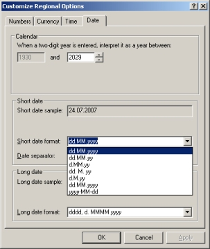 Screen Shot to Show Date Format Masking Options