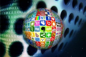 Social media icons in a sphere representative of unstructured data