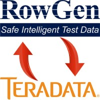 RowGen logo and Teradata logo with arrows showing data flowing between them