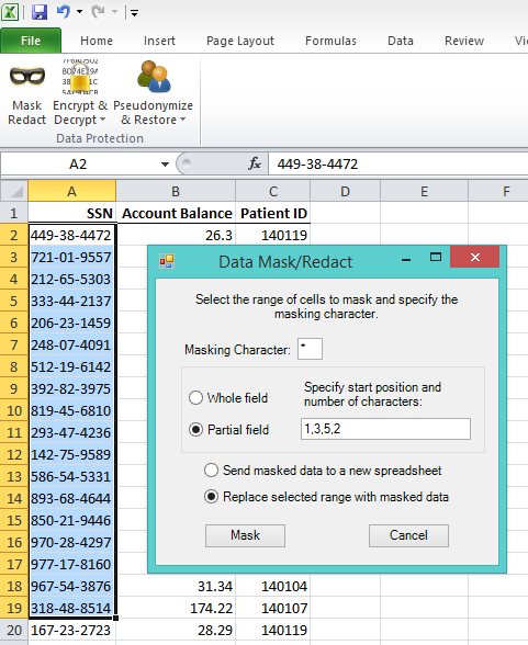 CellShield Masks Sensitive Data in Your Excel Spreadsheets