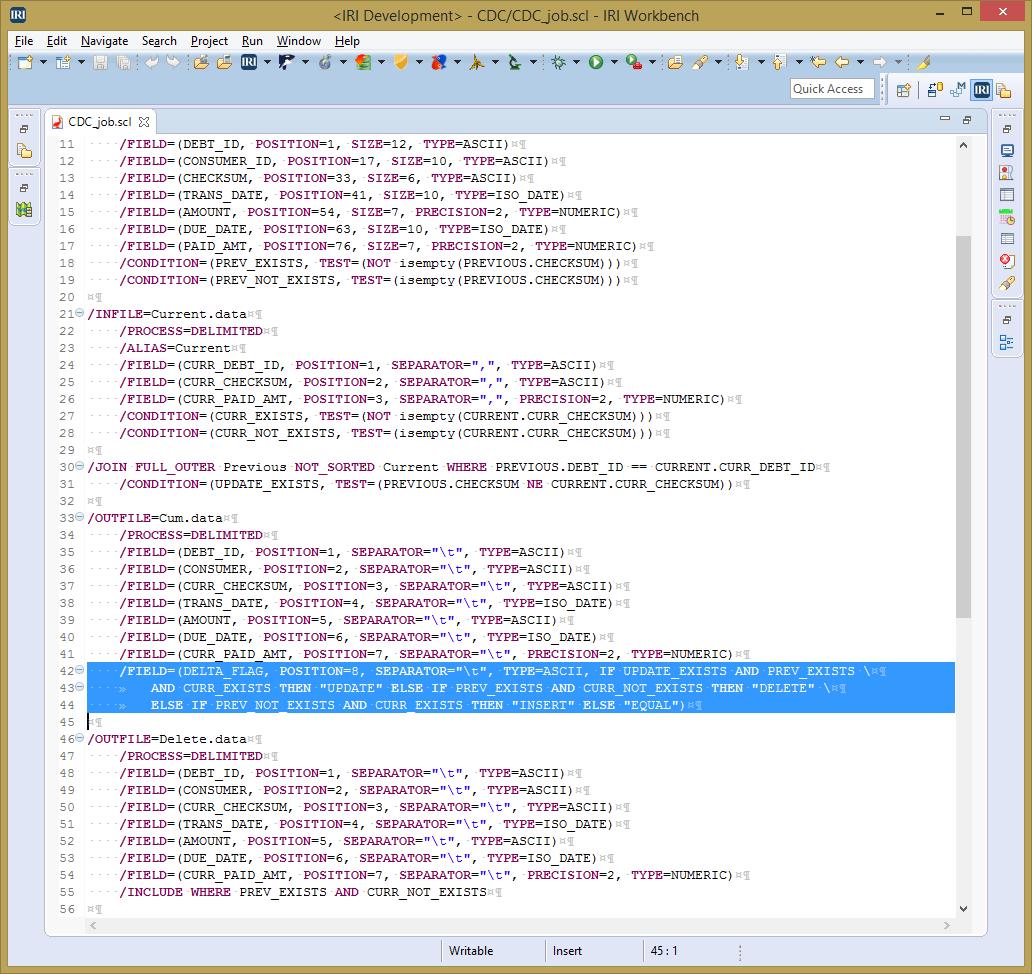Creating Change Data Capture Reports in IRI Workbench - IRI