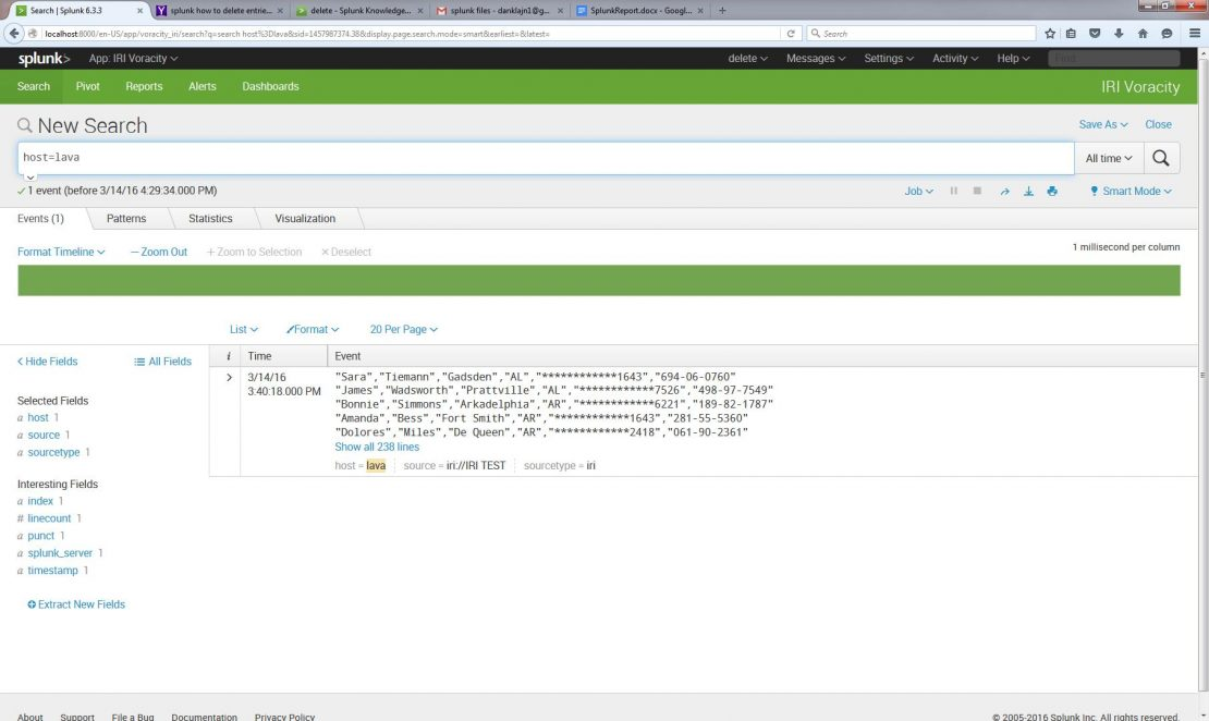 Indexing Splunk with Voracity Add-On - IRI