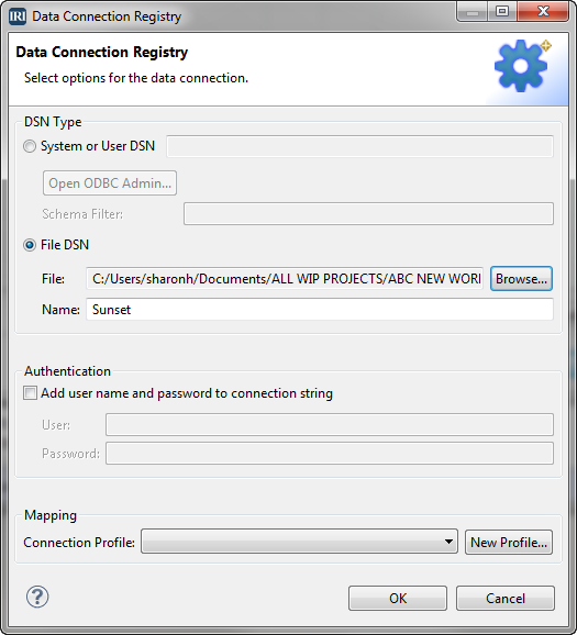 data connection registry