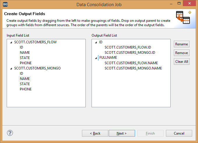 Data Consolidation Job-Create Output Fields