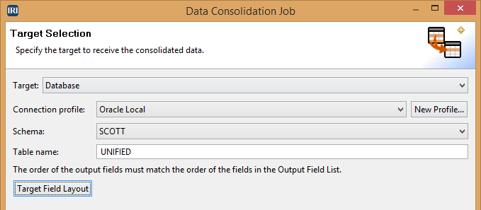 Data Consolidation Job-Target Field Layout