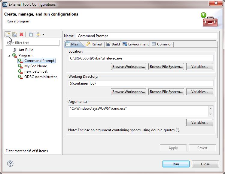 External Tools Configurations