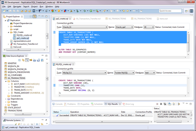Data Source Explorer in IRI Workbench