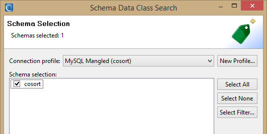 Schema data class search schema selection