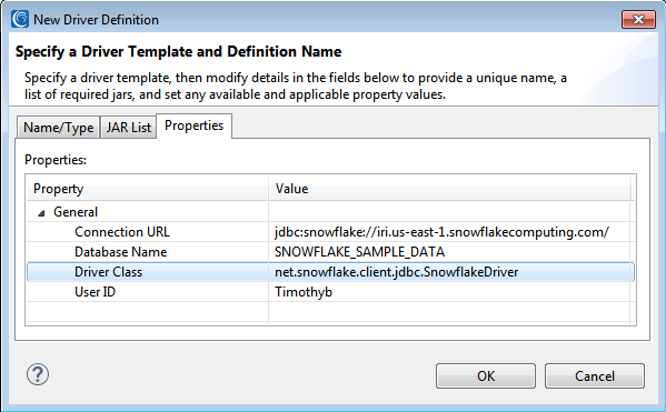 Driver template and definition name for Snowflake