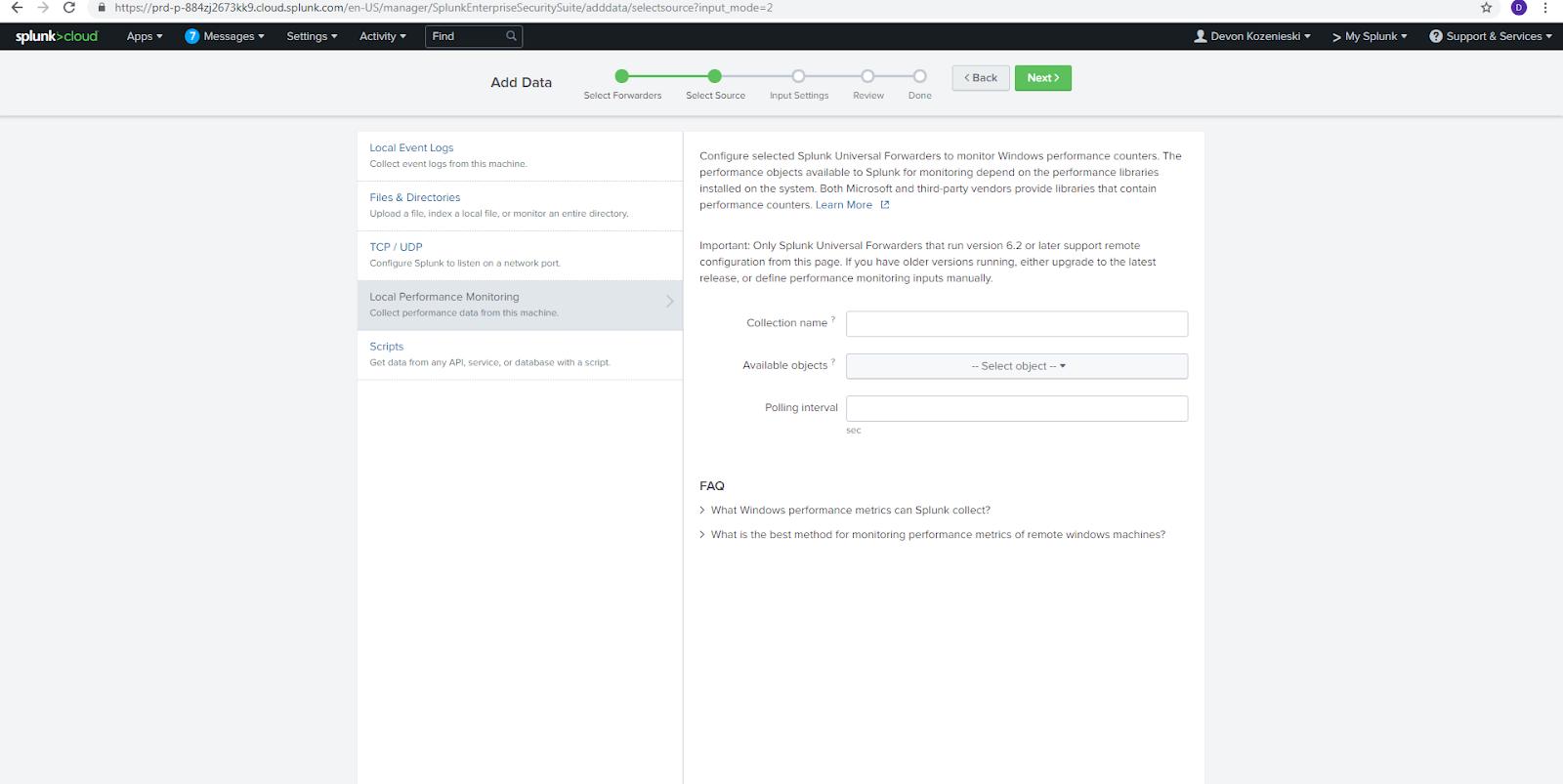Automatically Forward Target or Log Data into Splunk - IRI