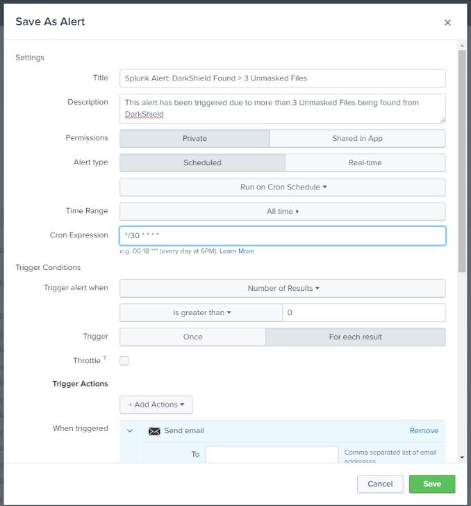 Getting DarkShield Alerts from Splunk Adaptive Response - IRI