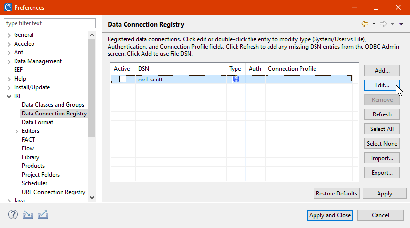 Data Connection Registry preferences